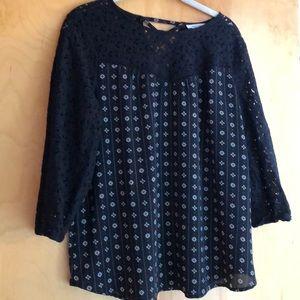 Maurices black floral print blouse size large